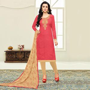 Pleasant Peach Designer Embroidered Partywear Jacquard Salwar Suit