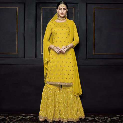 Appealing Yellow Colored Party Wear Embroidered Viscose Palazzo Suit