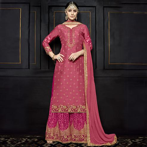Capricious Pink Colored Party Wear Embroidered Viscose Palazzo Suit