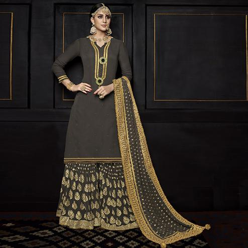Groovy Dark Grey Colored Party Wear Embroidered Viscose Palazzo Suit