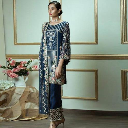 Exotic Blue Colored Party Wear Embroidered Georgette Suit
