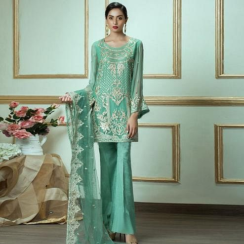 Eye-catching Turquoise Green Colored Party Wear Embroidered Georgette Suit