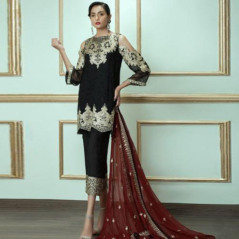 Fantastic Black Colored Party Wear Embroidered Georgette Suit