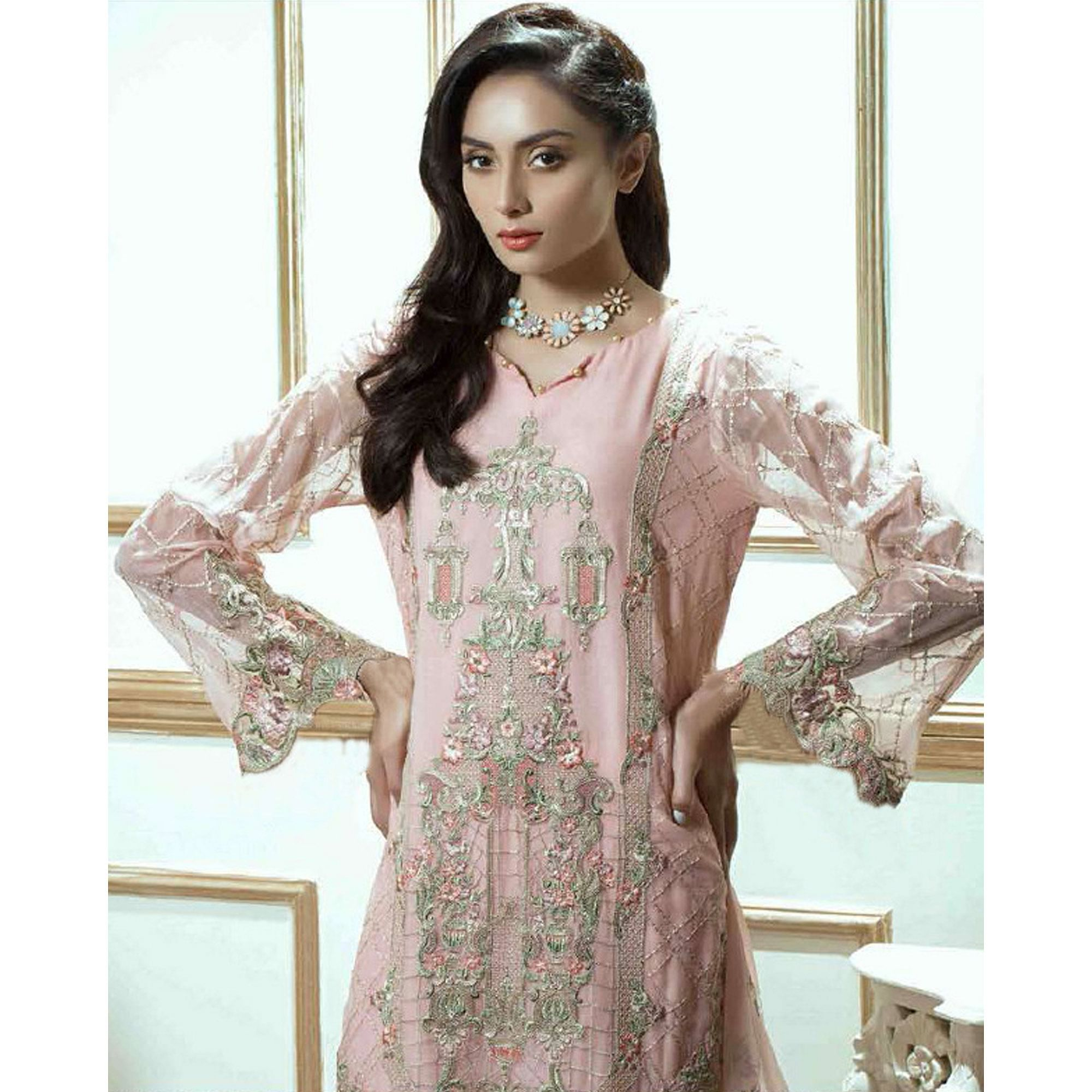 Glorious Baby Pink Colored Party Wear Embroidered Georgette Suit