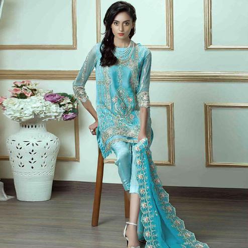 Gorgeous Sky Blue Colored Party Wear Embroidered Georgette Suit