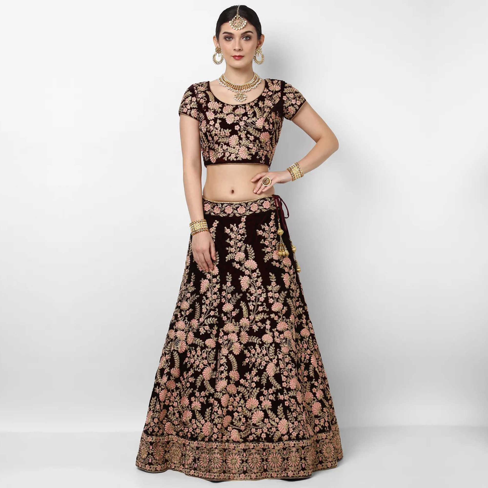 Exotic Maroon Colored Wedding Wear Embroidered Pure Velvet Lehenga Choli