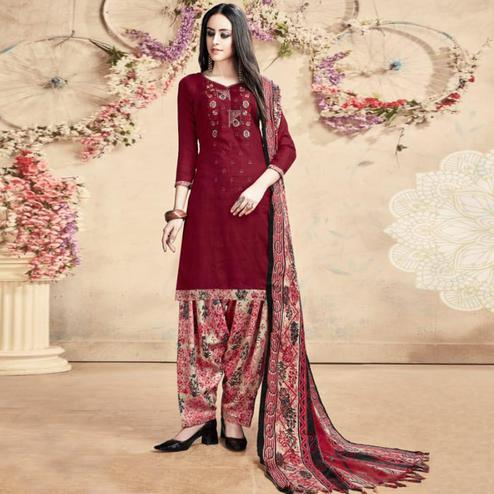 Graceful Maroon Colored Casual Embroidered Pashmina Dress Material
