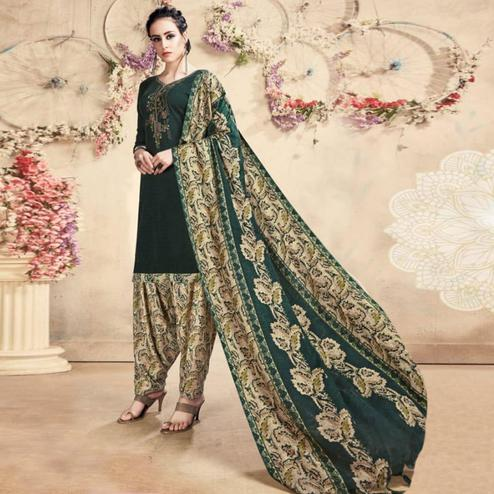 Ideal Dark Green Colored Casual Embroidered Pashmina Dress Material