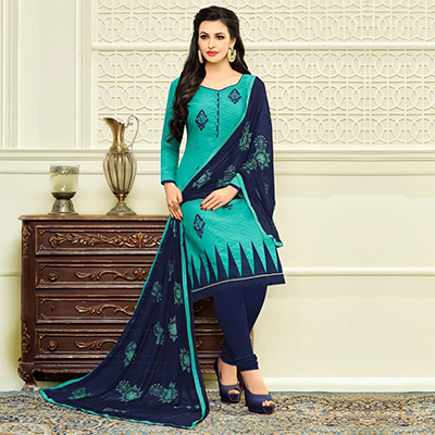 Dashing Turquoise Designer Embroidered Partywear Jacquard Salwar Suit