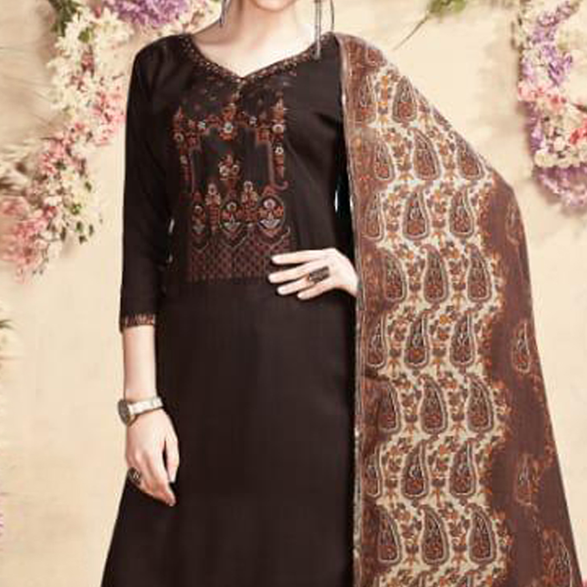 Imposing Brown Colored Casual Embroidered Pashmina Dress Material