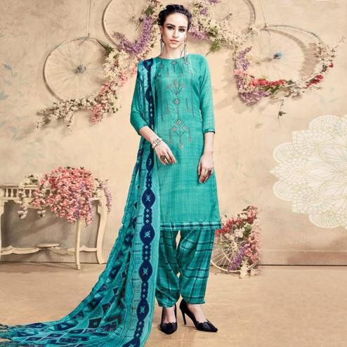 Lovely Turquoise Blue Colored Casual Embroidered Pashmina Dress Material