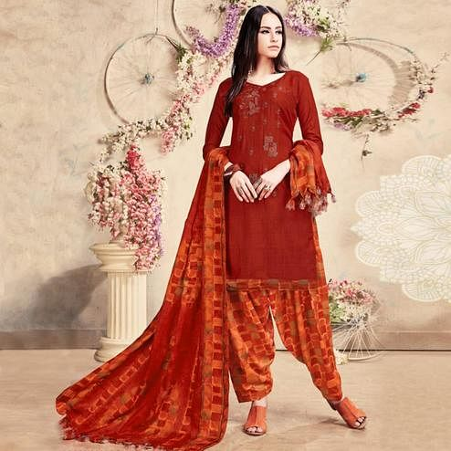 Majesty Red Colored Casual Embroidered Pashmina Dress Material
