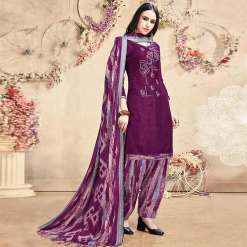 Marvellous Purple Colored Casual Embroidered Pashmina Dress Material