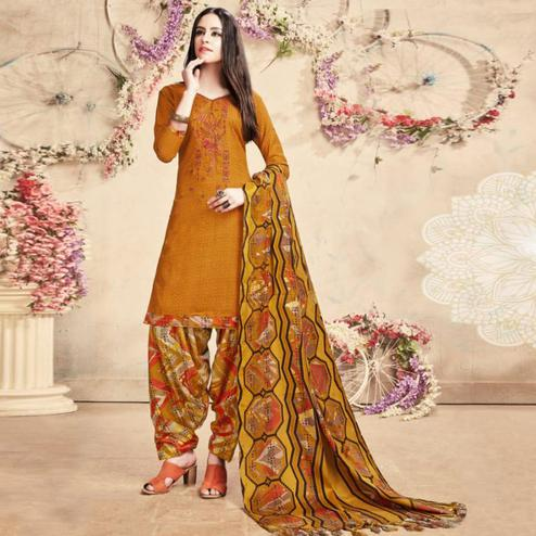 Mesmerising Mustard Yellow Colored Casual Embroidered Pashmina Dress Material