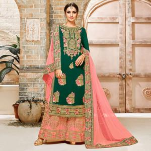 Delightful Dark Green Colored Embroidered Party Wear Faux Georgette Palazzo Suit