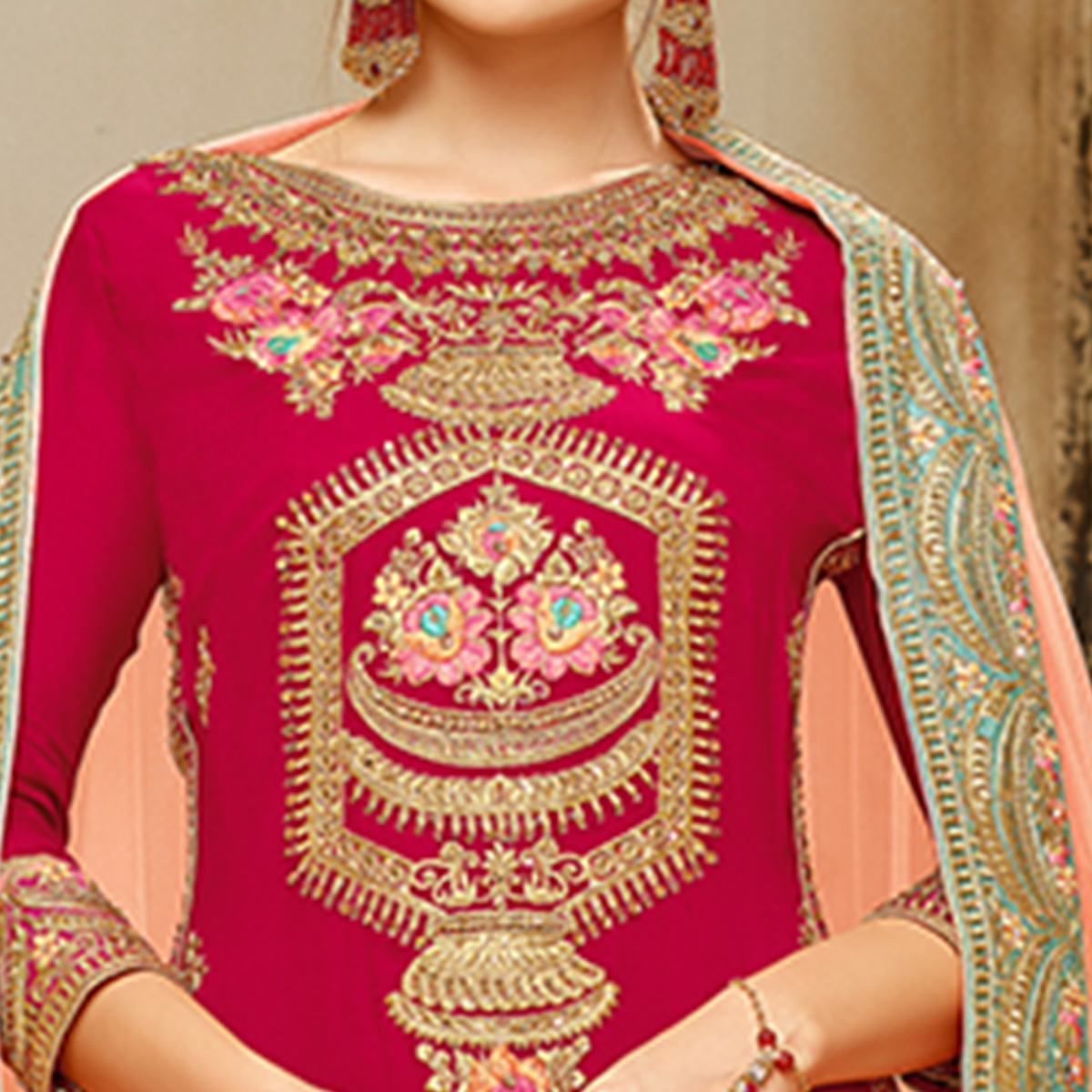 Exotic Pink Colored Embroidered Party Wear Faux Georgette Palazzo Suit