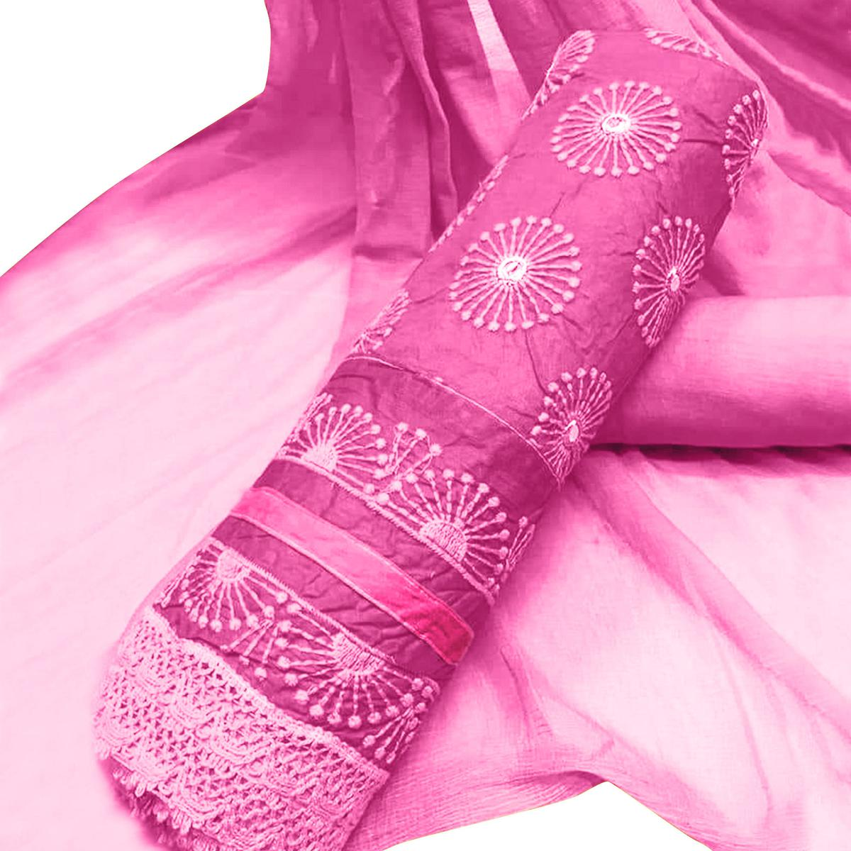 Fantastic Pink Colored Party Wear Embroidered Cotton Salwar Suit