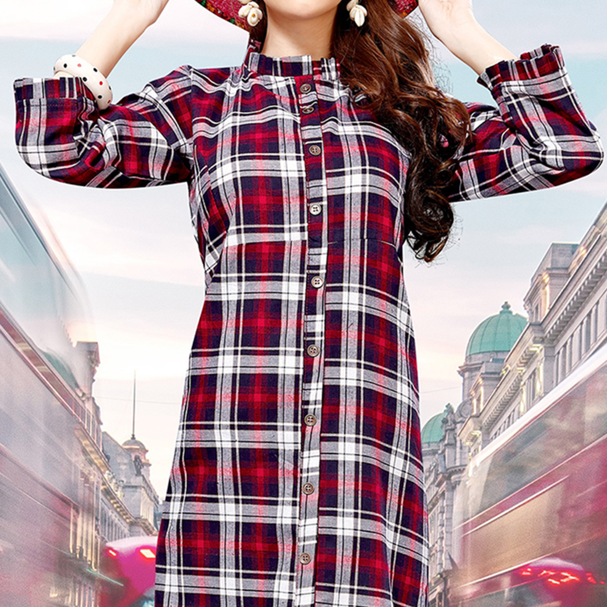 Exceptional White - Red Colored Casual Wear Printed Rayon Kurti
