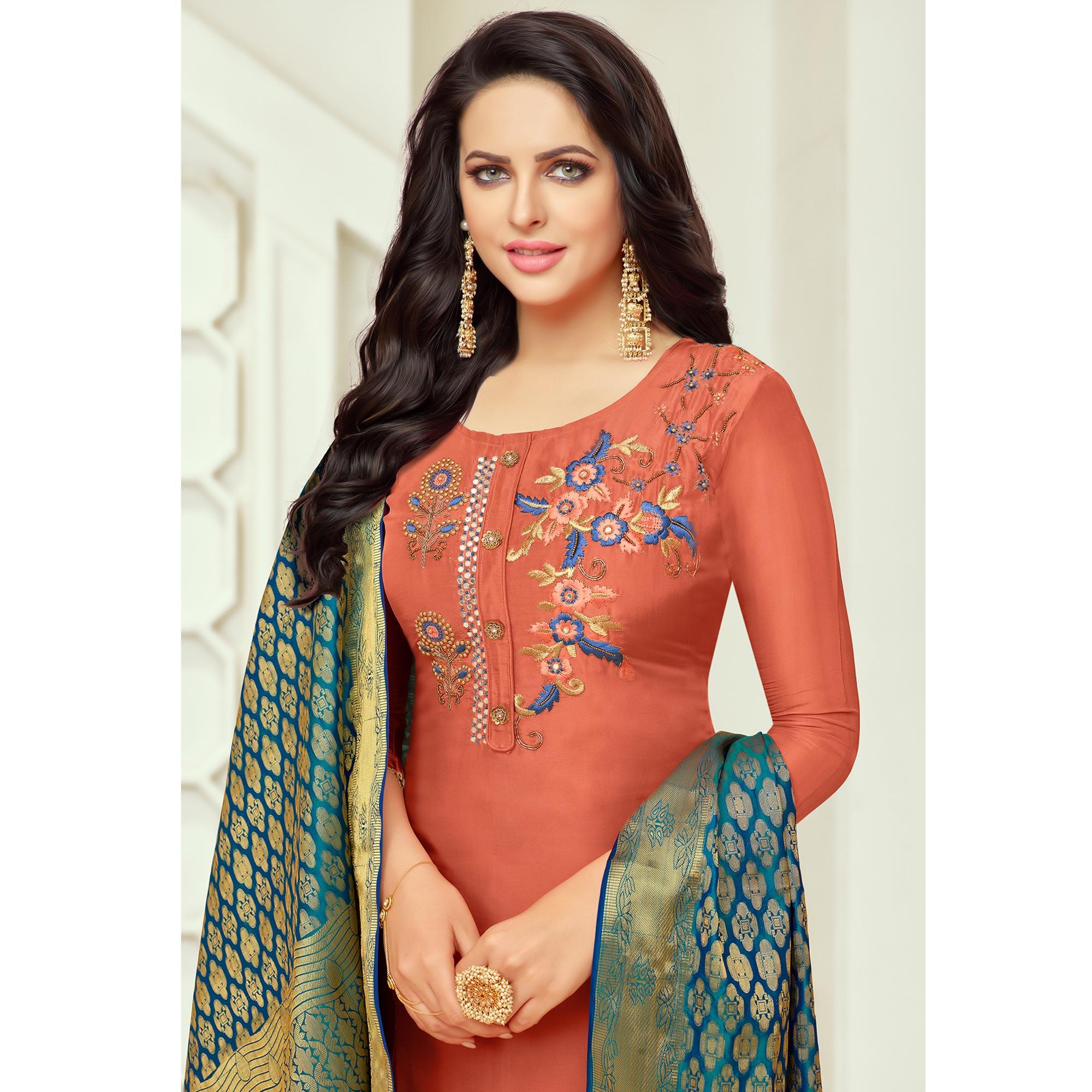 Blooming Rust Red Colored Embroidered Party Wear Silk Salwar Suit