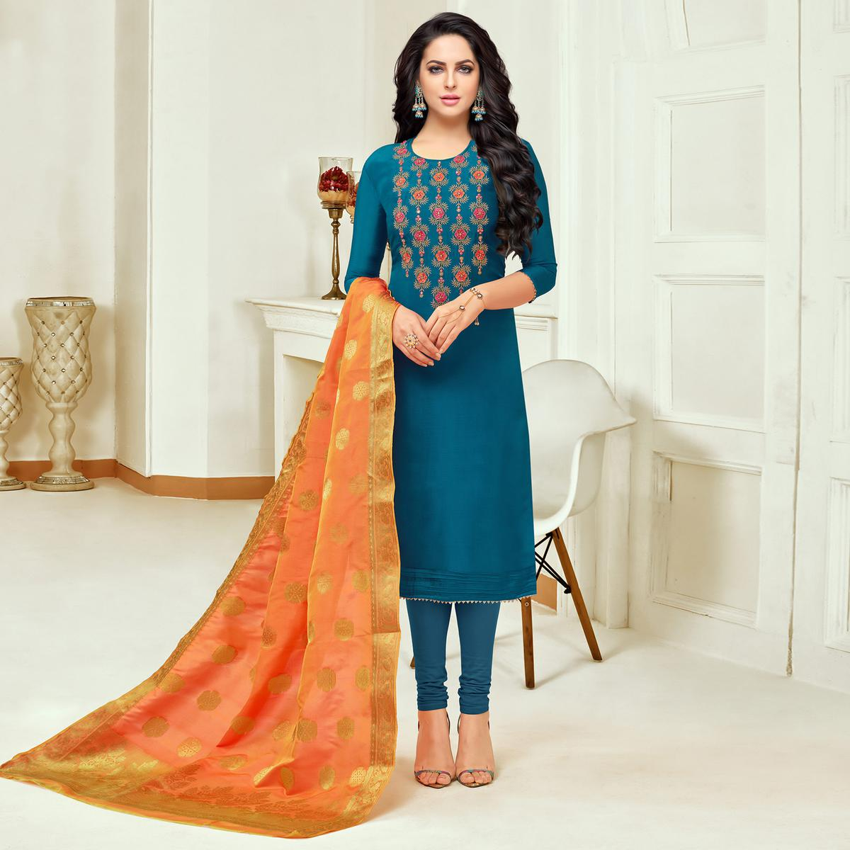 Classy Blue Colored Embroidered Party Wear Silk Salwar Suit
