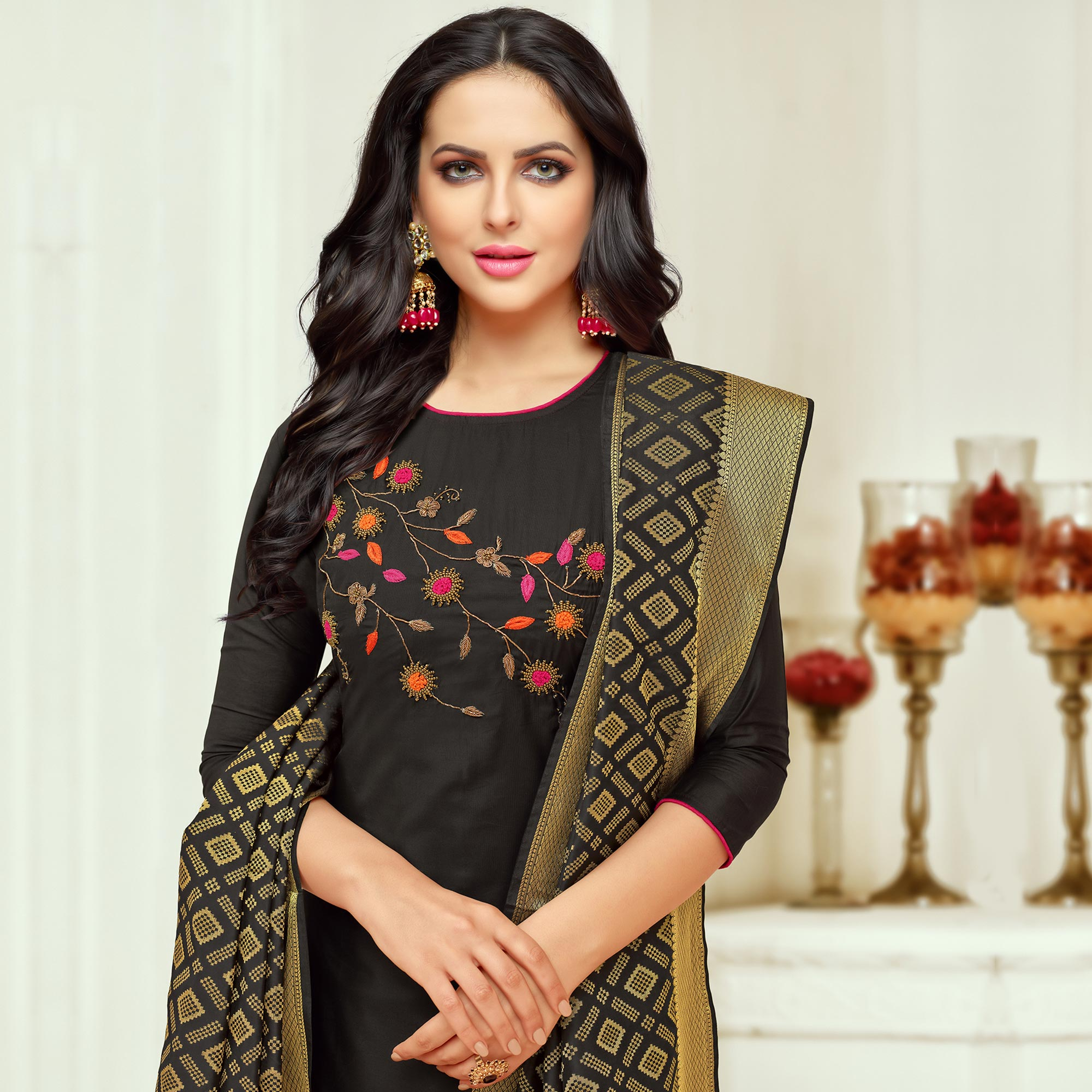 Delightful Black Colored Embroidered Party Wear Silk Salwar Suit