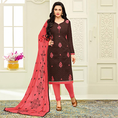 Sizzling Brown Designer Embroidered Partywear Jacquard Salwar Suit