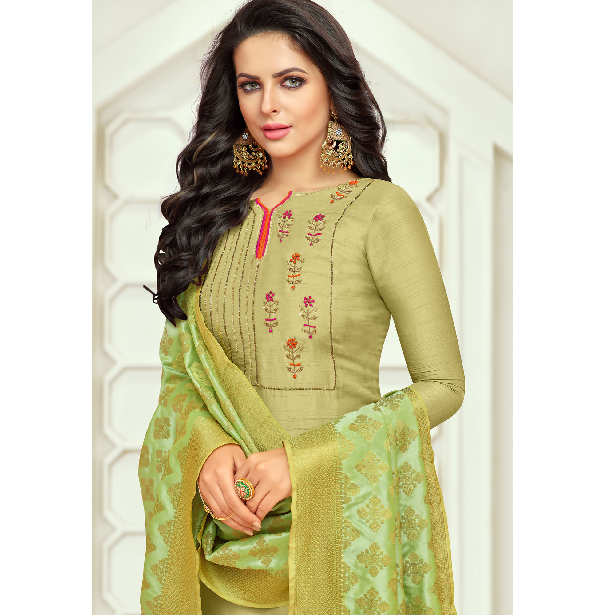 Engrossing Pear Green Colored Embroidered Party Wear Silk Salwar Suit