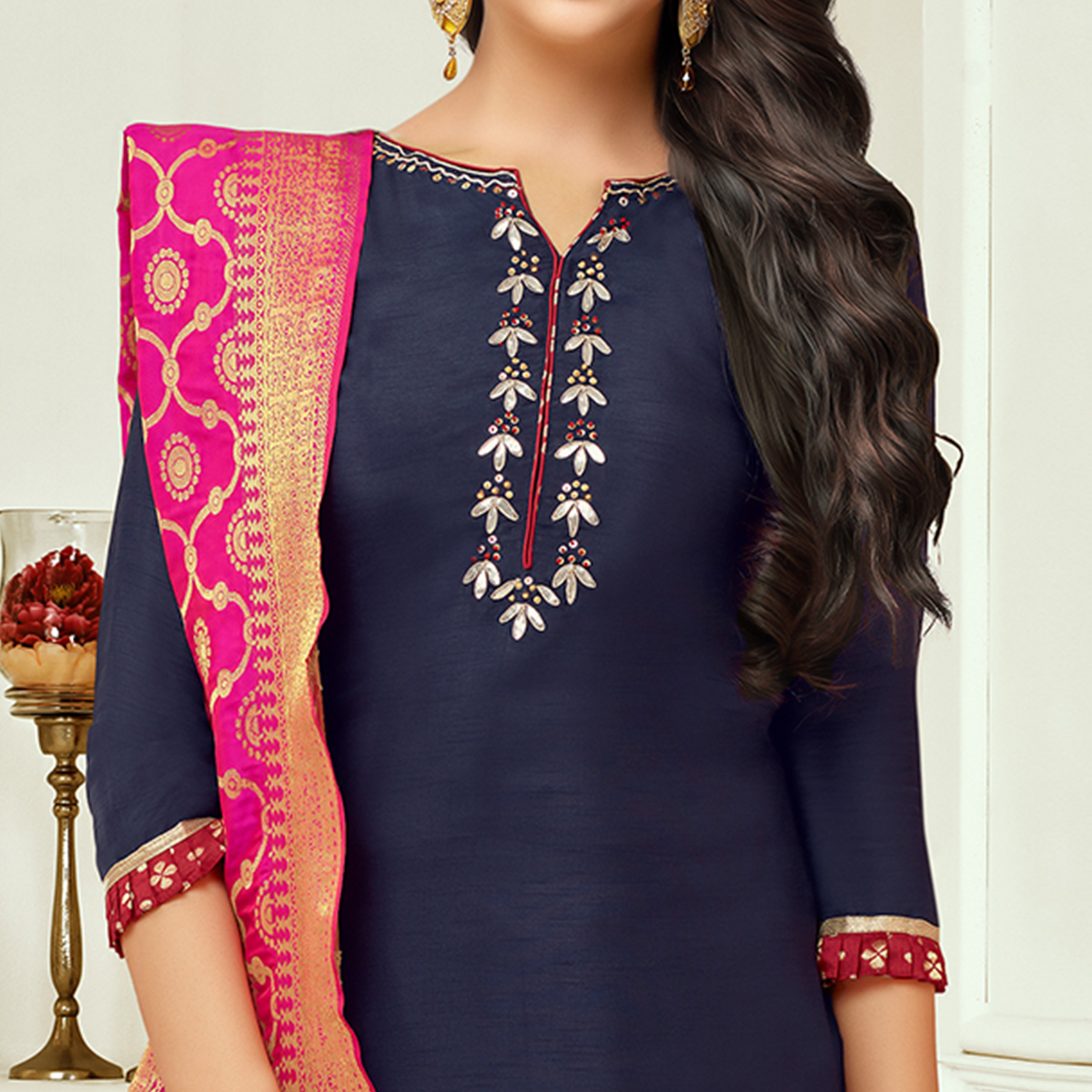 Entrancing Navy Blue Colored Embroidered Party Wear Silk Salwar Suit