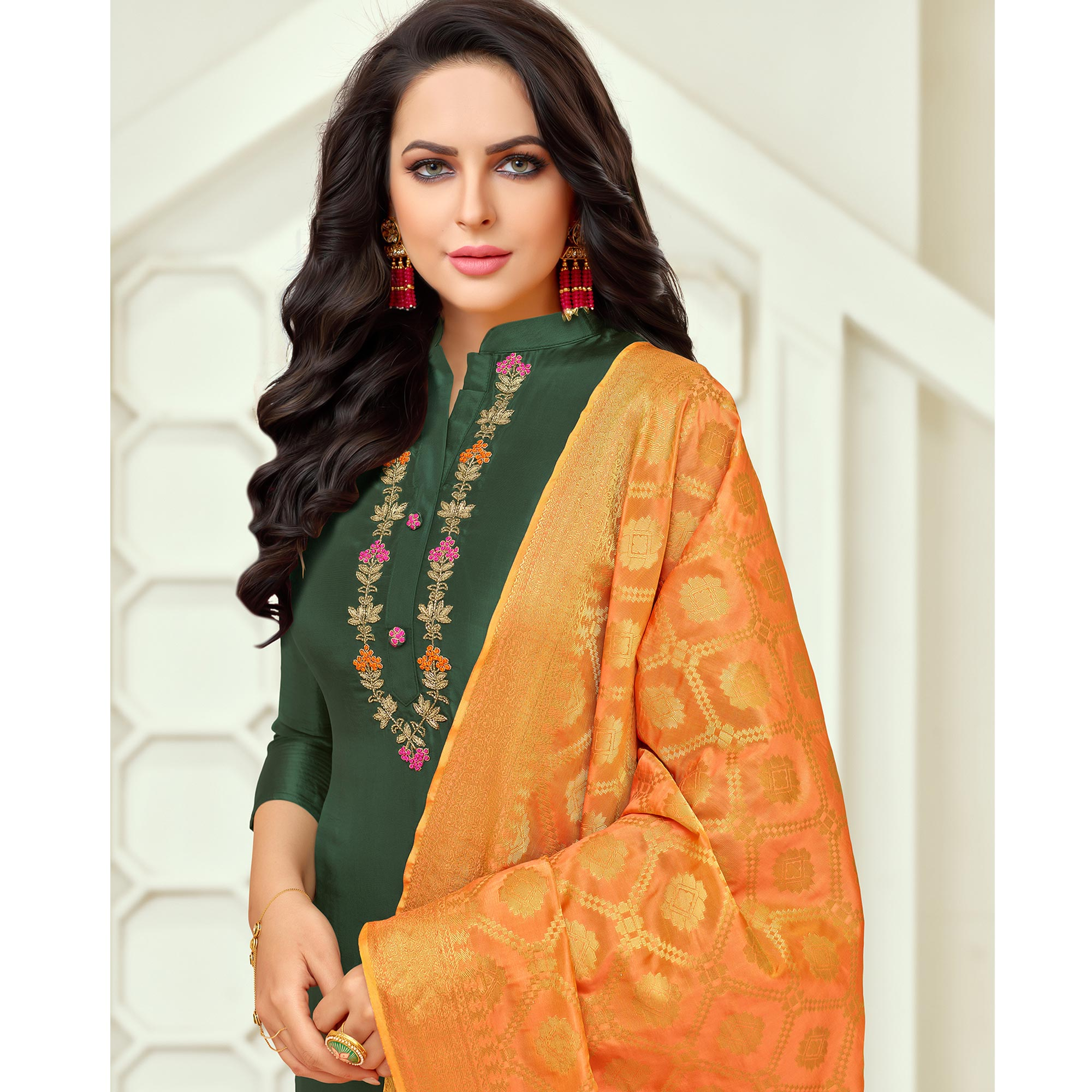 Exotic Dark Green Colored Embroidered Party Wear Silk Salwar Suit