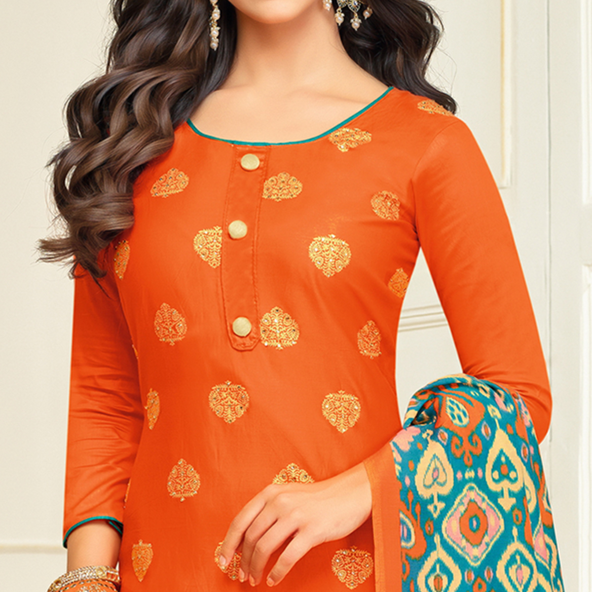 Eye-catching Orange Colored Party Wear Printed Silk Palazzo Suit