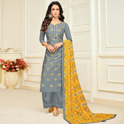 Fantastic Grey Colored Party Wear Printed Silk Palazzo Suit