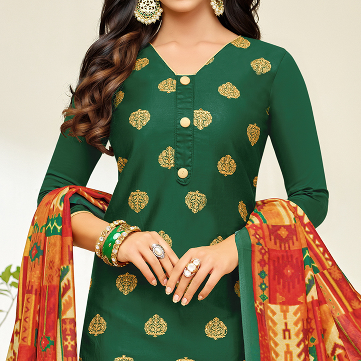 Glorious Dark Green Colored Party Wear Printed Silk Palazzo Suit