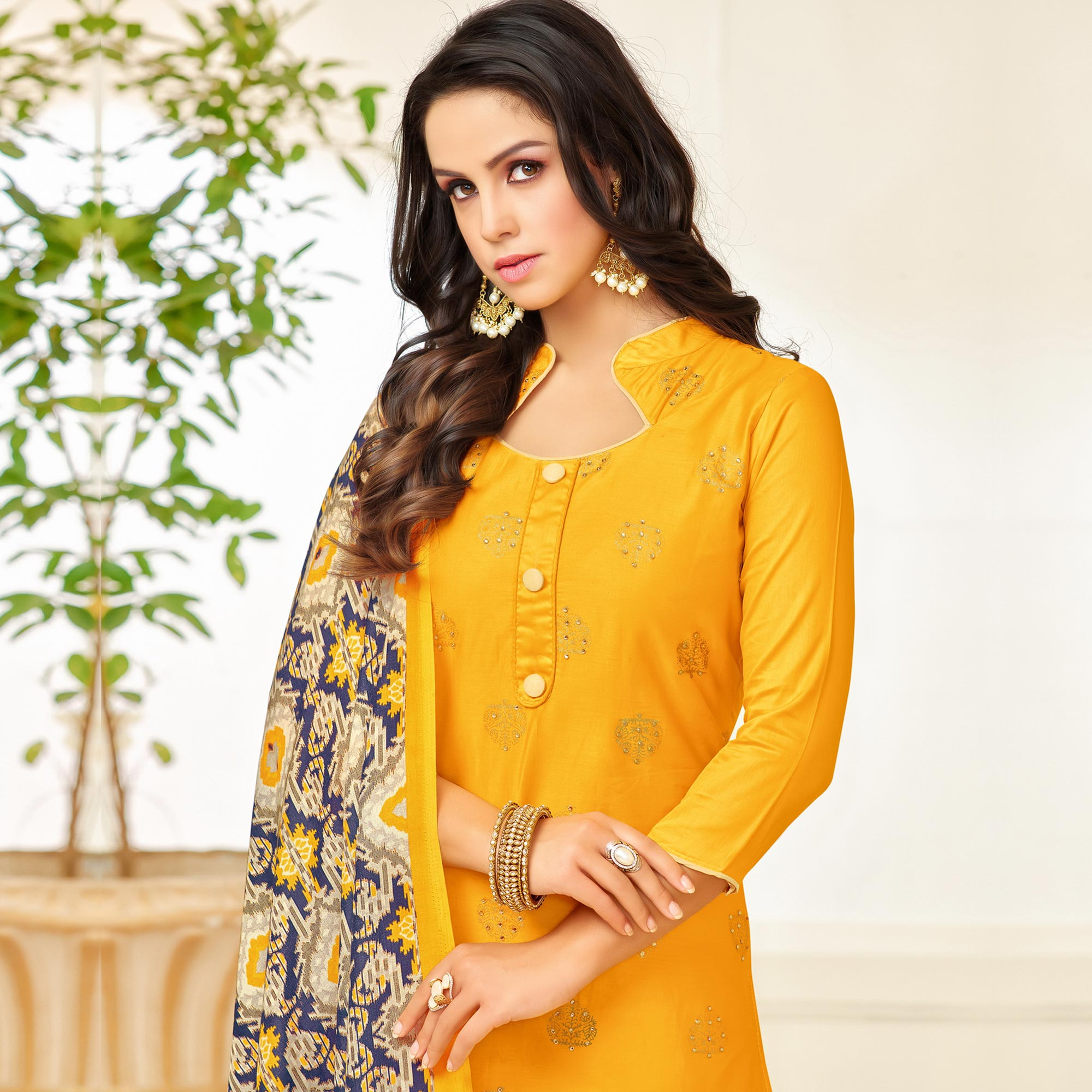 Gorgeous Yellow Colored Party Wear Printed Silk Palazzo Suit