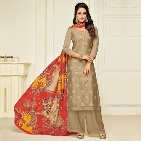 Ideal Light Brown Colored Party Wear Printed Silk Palazzo Suit