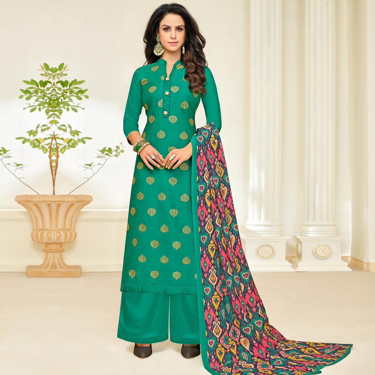 Majesty Turquoise Green Colored Party Wear Printed Silk Palazzo Suit