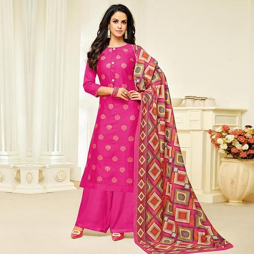 Preferable Rani Pink Colored Party Wear Printed Silk Palazzo Suit