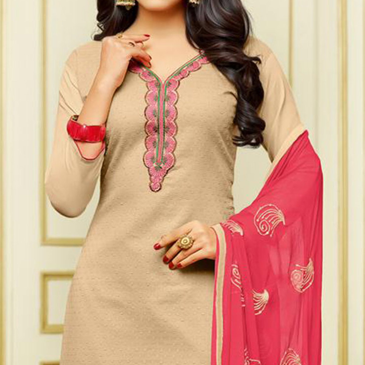Classy Beige Designer Embroidered Partywear Jacquard Salwar Suit