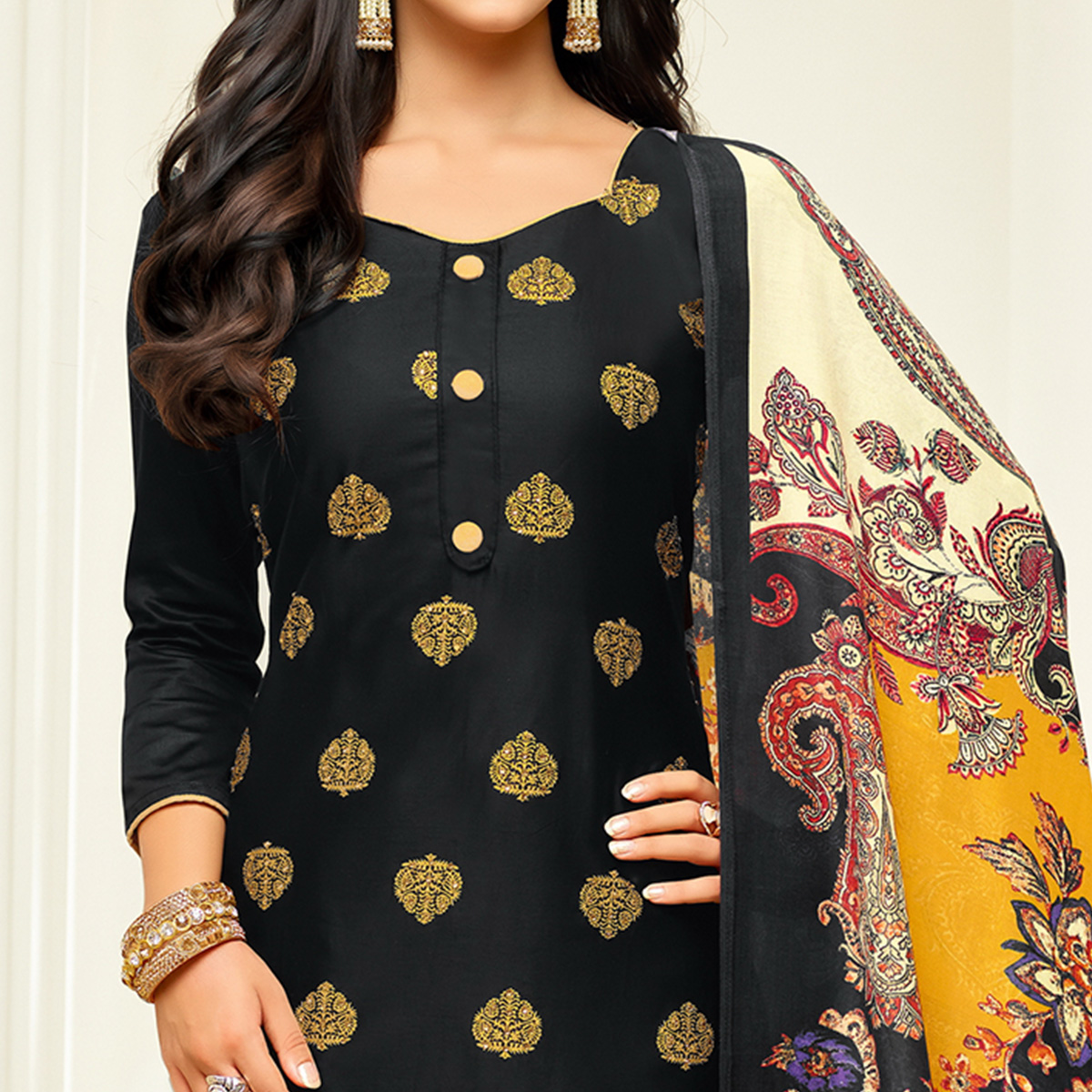 Pretty Black Colored Party Wear Printed Silk Palazzo Suit
