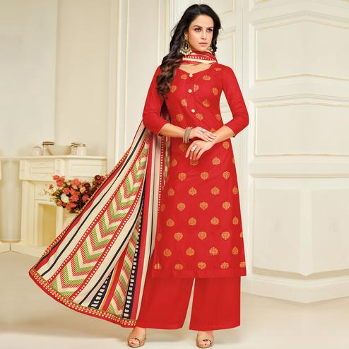 Unique Red Colored Party Wear Printed Silk Palazzo Suit