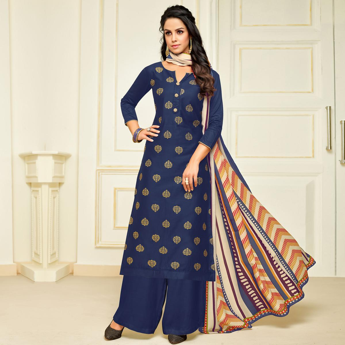 Refreshing Navy Blue Colored Party Wear Printed Silk Palazzo Suit