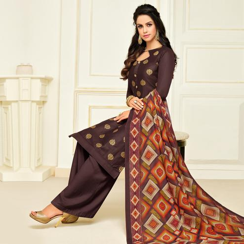 Magnetic Coffee Brown Colored Party Wear Printed Silk Palazzo Suit
