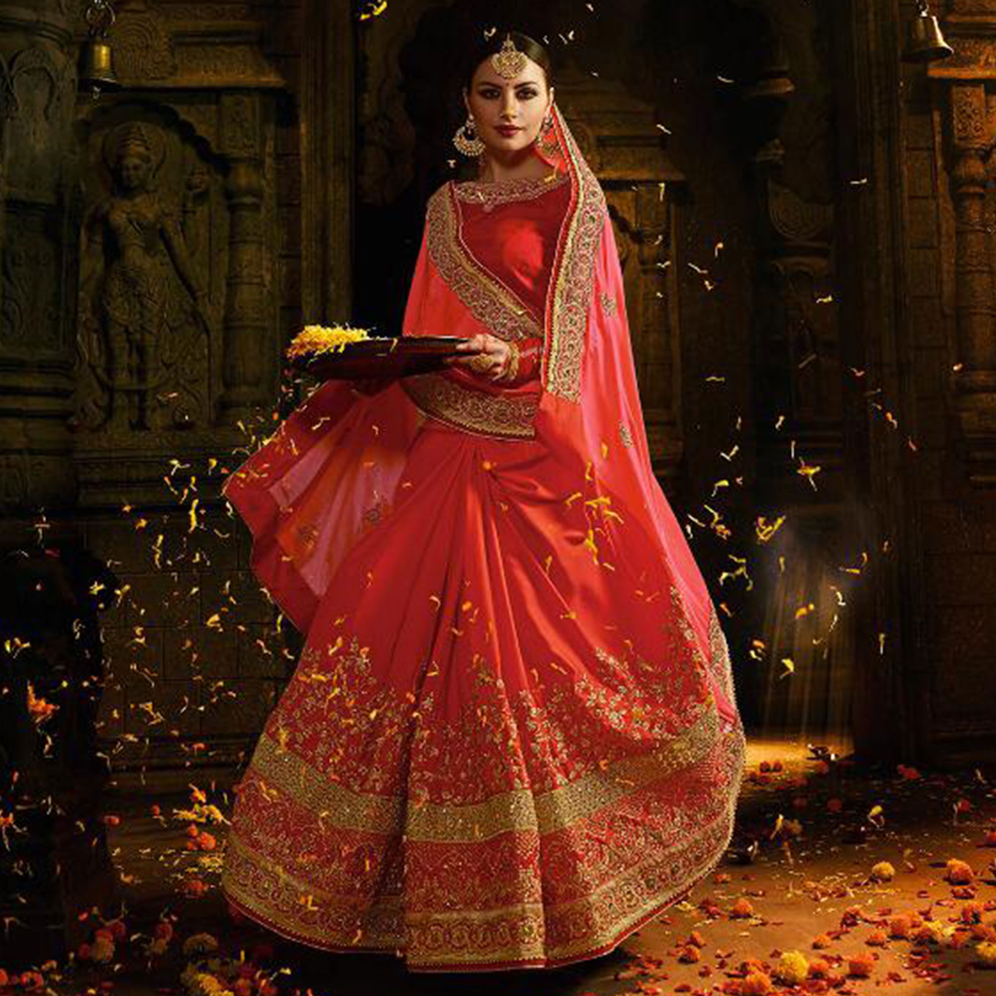 Exceptional Red-Peach Colored Wedding Wear Embroidered Silk Saree