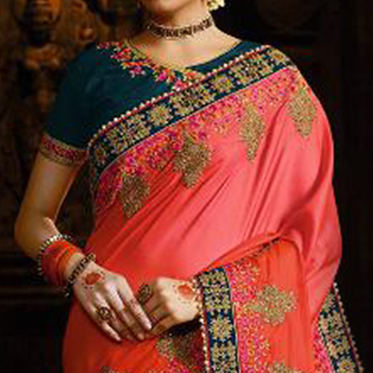 Mesmeric Green-Pink Colored Wedding Wear Embroidered Silk Satin Saree