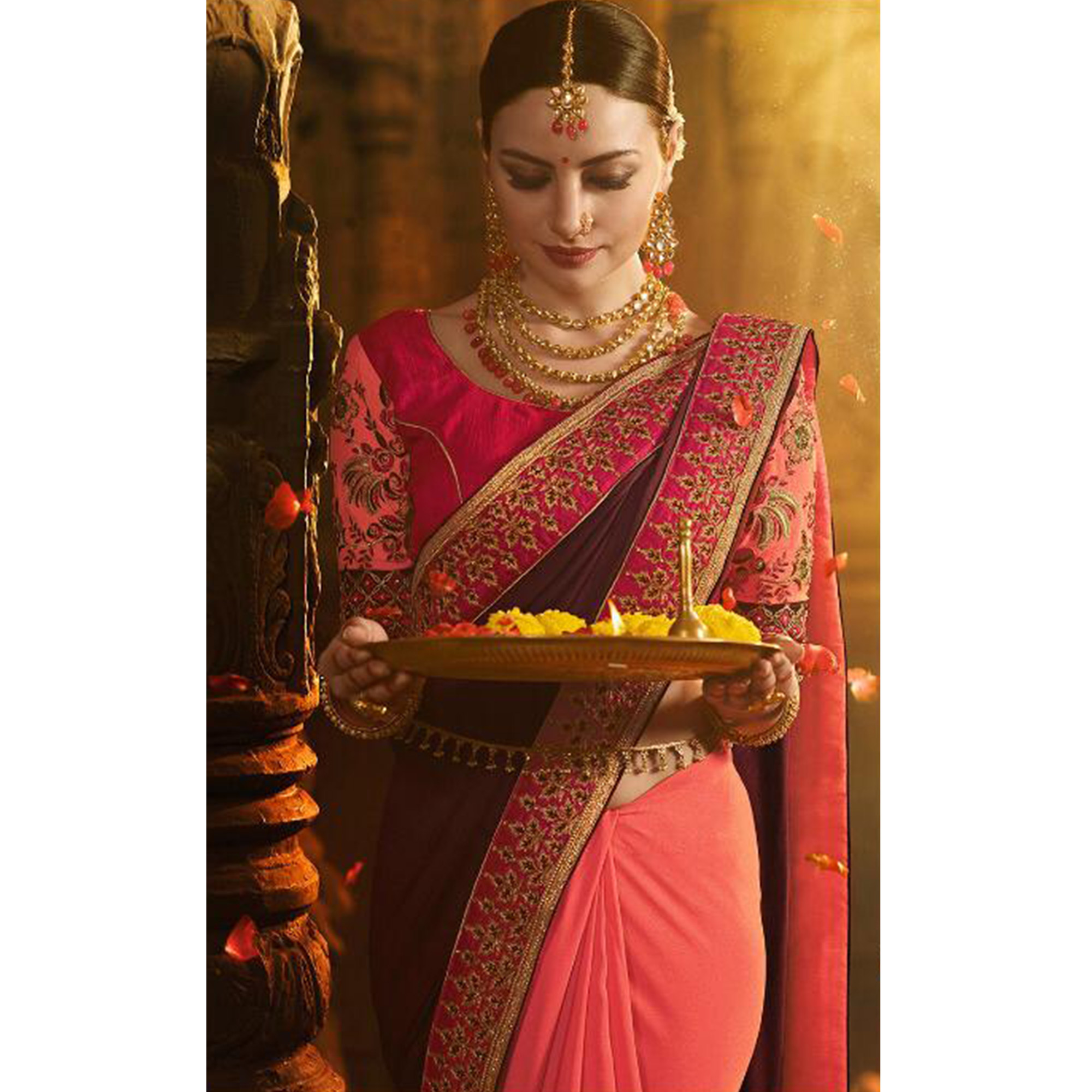 Hypnotic Pink-Brown Colored Wedding Wear Embroidered Silk Saree