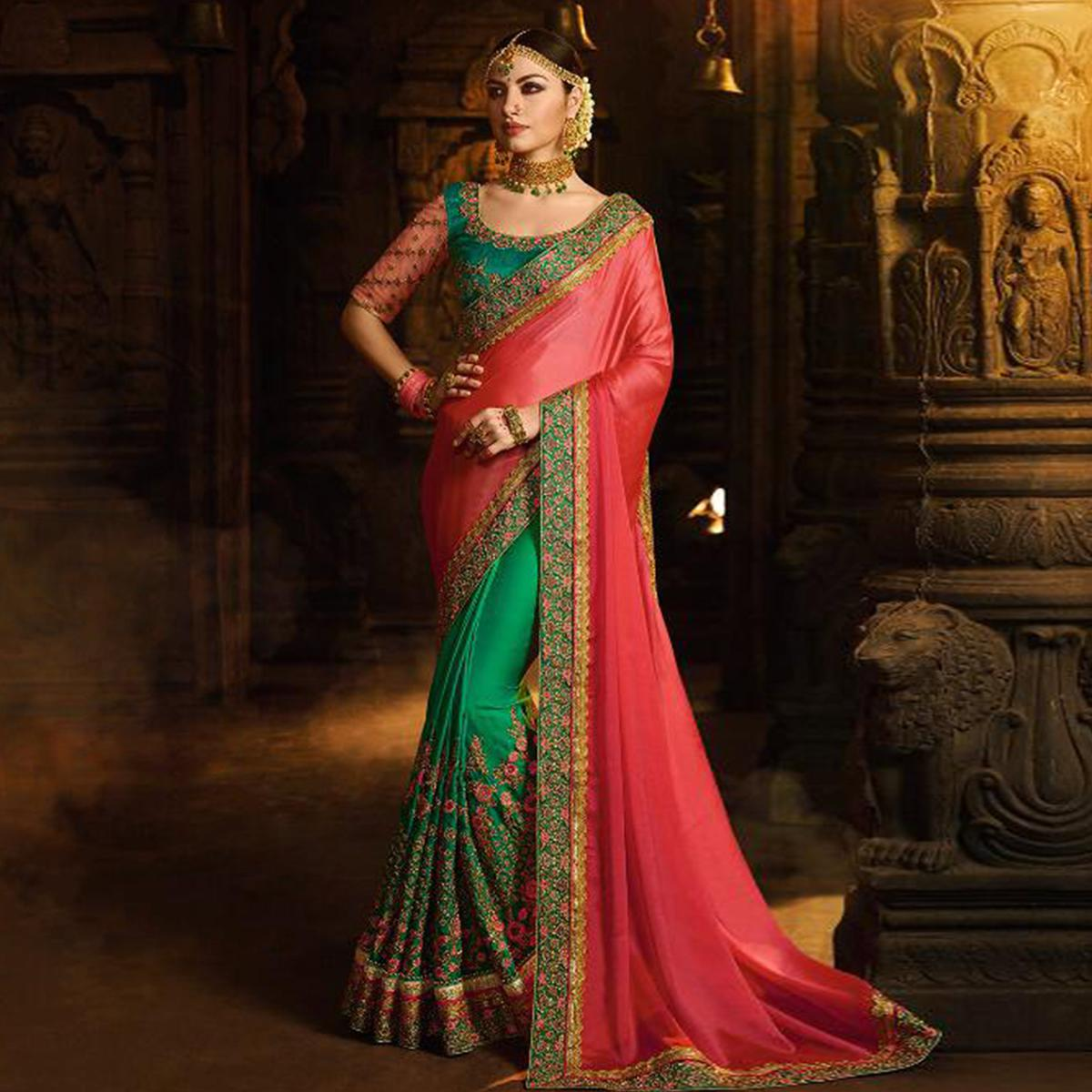 Excellent Green-Pink Colored Wedding Wear Embroidered Silk And Satin Saree