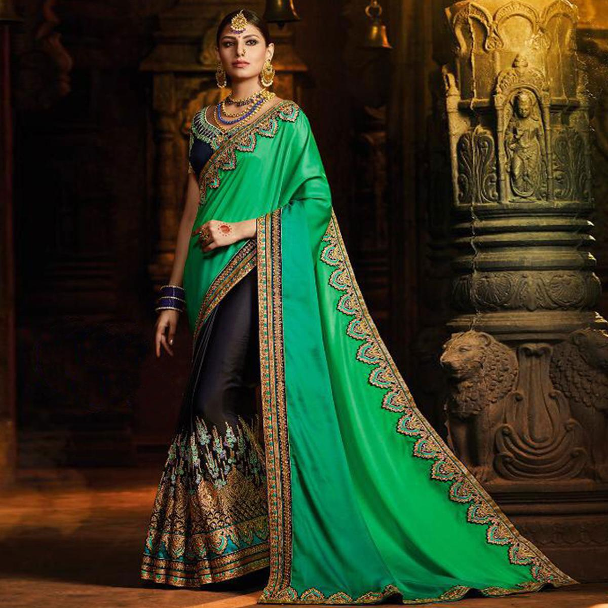 Impressive Navy Blue-Green Colored Wedding Wear Embroidered Satin Silk Saree