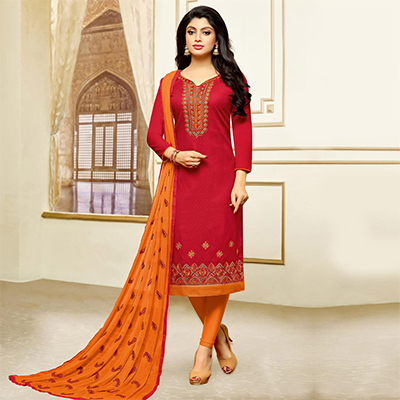 Elegant Red Designer Embroidered Partywear Jacquard Salwar Suit