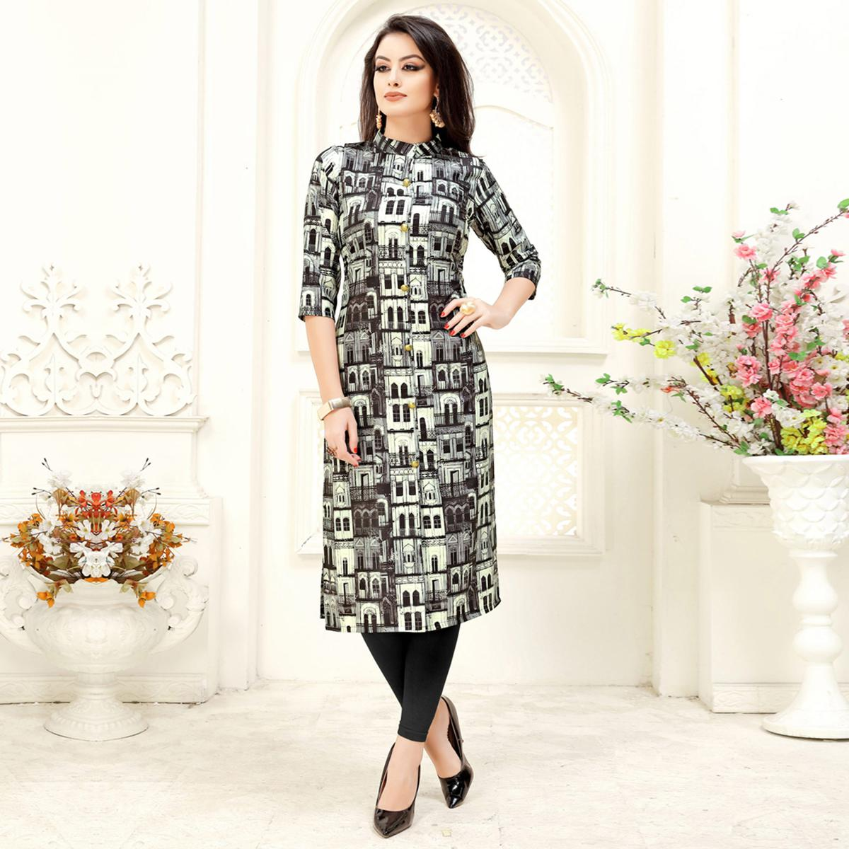 Demanding Black & White Colored Party Wear Printed Crepe Kurti