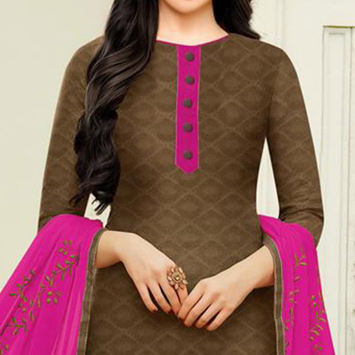 Dazzling Brown Designer Embroidered Partywear Jacquard Salwar Suit