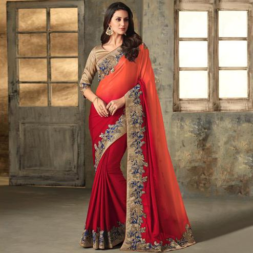 Amazing Red Colored Partywear Embroidered Art Silk Saree